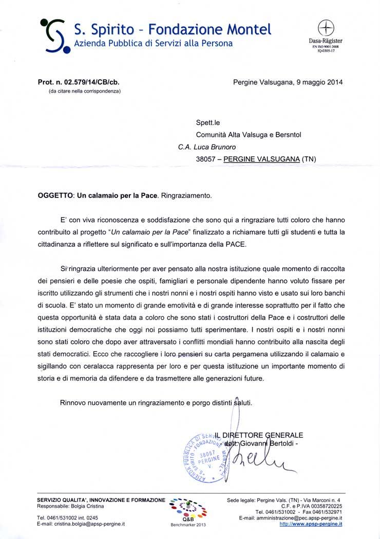 Lettera Direttore APSP Pergine